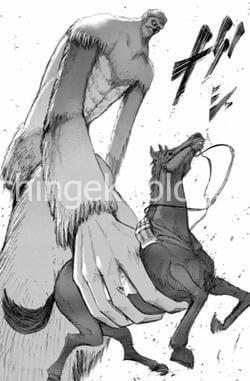 馬を持ち上げる獣の巨人