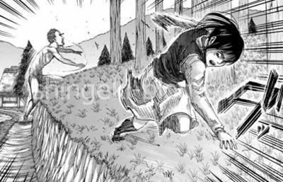 巨人から逃げるサシャ