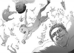 上空に舞う巨人たち