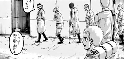 負傷兵を見るファルコ