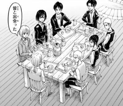 食卓を囲むリヴァイ班