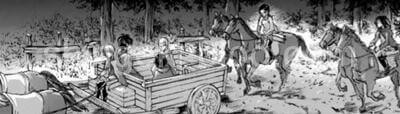 馬で移動する