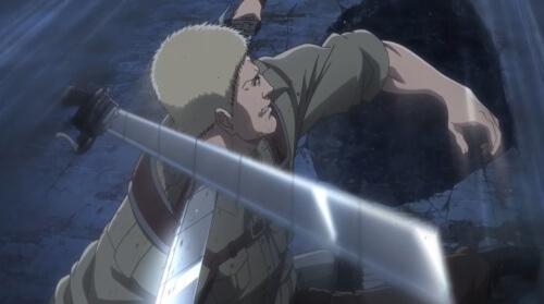 刃で斬られるライナー