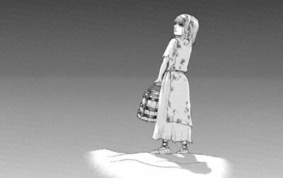 道の中にいる少女