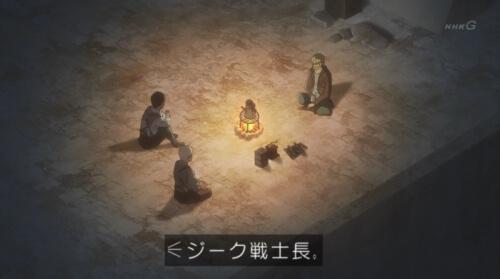 焚火を囲む3人