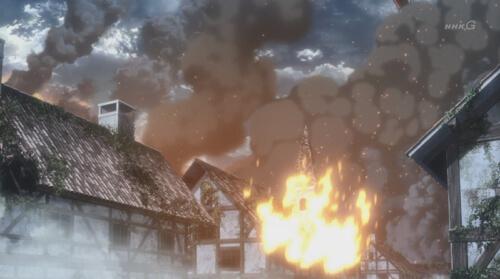 燃える建物