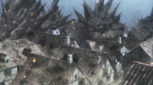 建物が爆発する