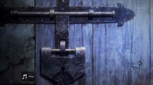 地下室の扉の鍵穴