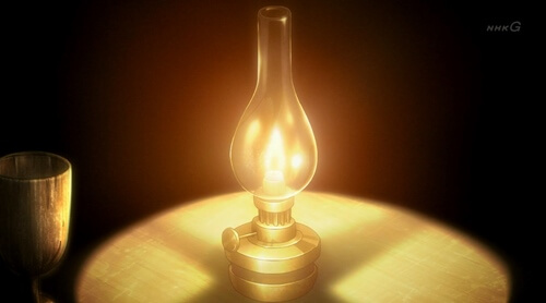 明かりがともされる