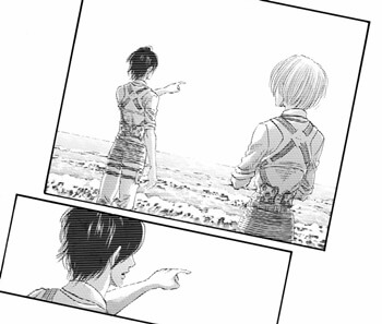 海を臨むエレンとアルミン