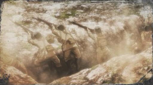 塹壕から打つ兵士たち