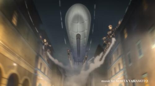 飛行船と調査兵たち