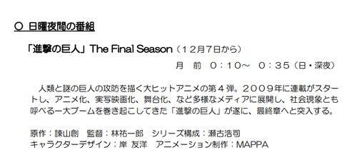 進撃の巨人ファイナルシーズンの放送日時